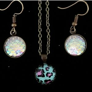 Iridescent mermaid earrings leopard print necklace